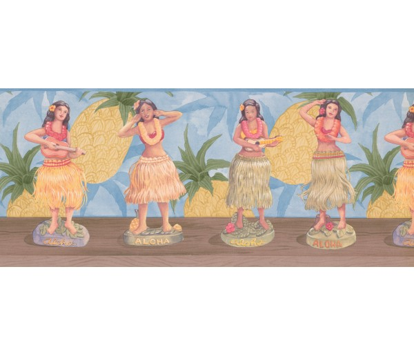 Prepasted Wallpaper Borders - Blue Pineapple Hula Dolls Wall Paper Border