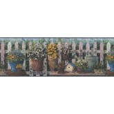 Garden Borders Blue and Green Floral Pots Wallpaper Border York Wallcoverings