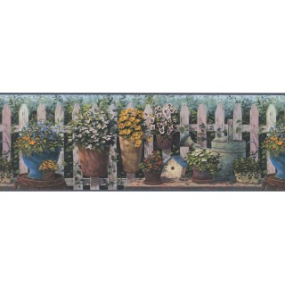 8 1/4 in x 15 ft Prepasted Wallpaper Borders - Blue and Green Floral Pots Wall Paper Border