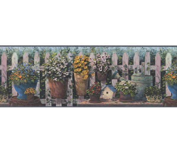 Garden Borders Blue and Green Floral Pots Wallpaper Border