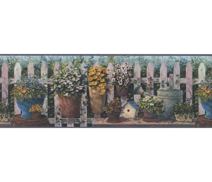 Garden Wallpaper Borders: Blue and Green Floral Pots Wallpaper Border