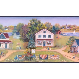 7 3/4 in x 15 ft Prepasted Wallpaper Borders - Blue and Green Americana Landscape Wall Paper Border