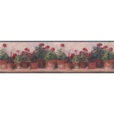 Garden Borders Blue and Red Floral Geraniums Wallpaper Border York Wallcoverings