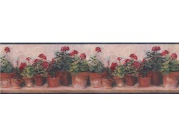 Prepasted Wallpaper Borders - Blue and Red Floral Geraniums Wall Paper Border