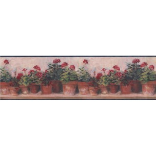 6 3/4 in x 15 ft Prepasted Wallpaper Borders - Blue and Red Floral Geraniums Wall Paper Border