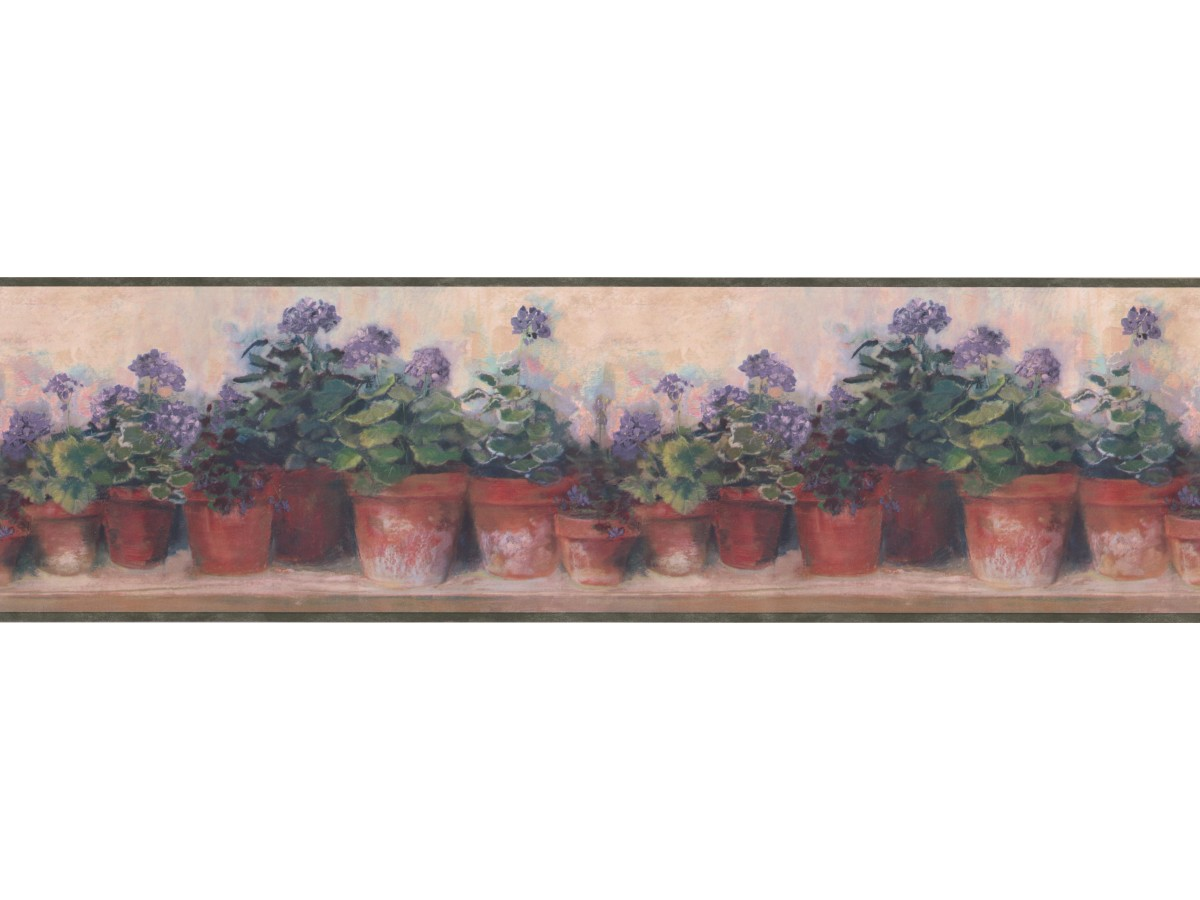Prepasted Wallpaper Borders Green And Lilac Floral Flowers Wall Paper Border