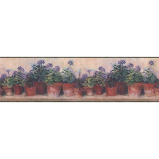 15 ft Prepasted Wallpaper Borders - Green and Lilac Floral Flowers Wall Paper Border