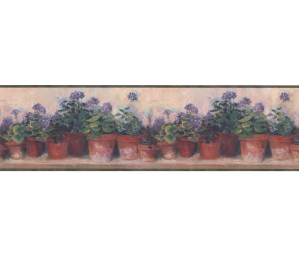 Garden Wallpaper Borders: Green and Lilac Floral Flowers Wallpaper Border