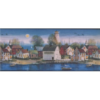 10 1/4 in x 15 ft Prepasted Wallpaper Borders - Blue and Black Country Houses Wall Paper Border
