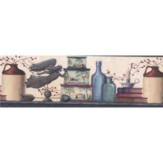 8 in x 15 ft Prepasted Wallpaper Borders - Blue and Cream Country Jars Wall Paper Border