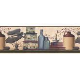 Country Wallpaper Borders: Brown and Blue Country Shelf Wallpaper Border