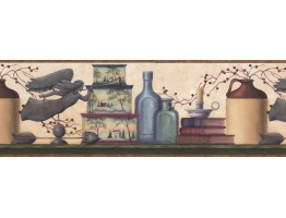 Prepasted Wallpaper Borders - Brown and Blue Country Shelf Wall Paper Border