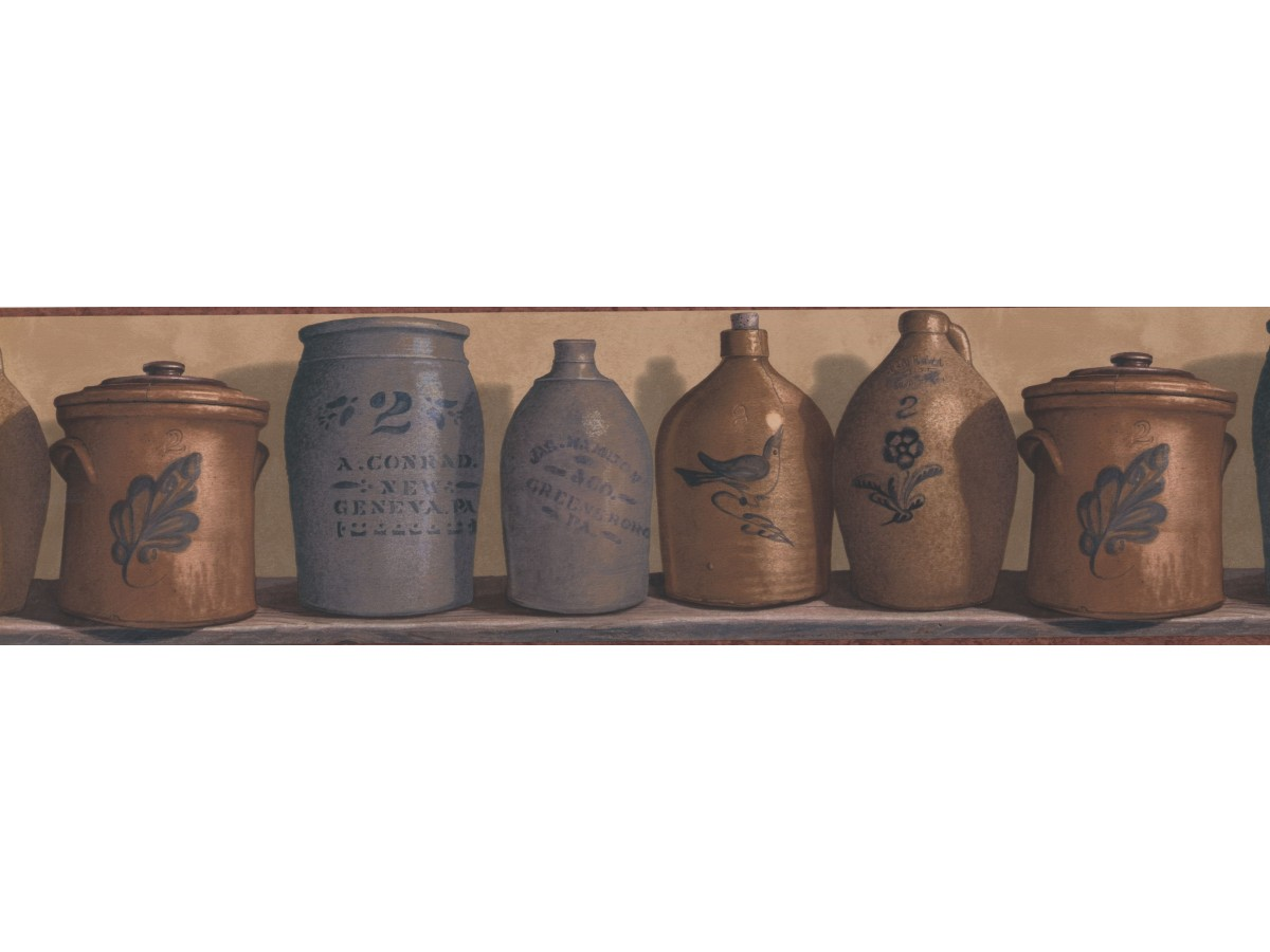 Prepasted Wallpaper Borders - Rust and Brown Country Jars Wall Paper Border