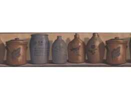 Rust and Brown Country Jars Wallpaper Border
