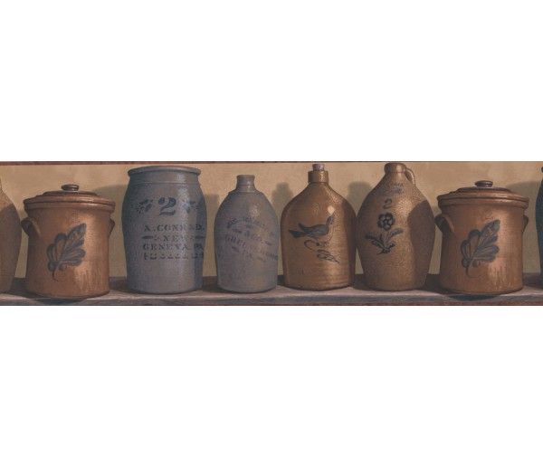 Kitchen Wallpaper Borders: Rust and Brown Country Jars Wallpaper Border