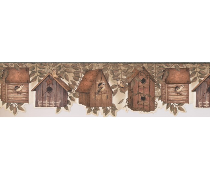 Bird Houses Wallpaper Borders: Leaf Birds Home Wallpaper Border