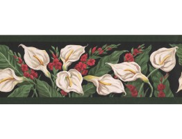 Green Black White Calla Lilies Wallpaper Border