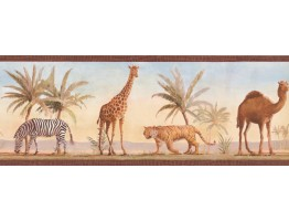 Prepasted Wallpaper Borders - Camel Zebra Wall Paper Border