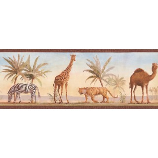 9 in x 15 ft Prepasted Wallpaper Borders - Camel Zebra Wall Paper Border