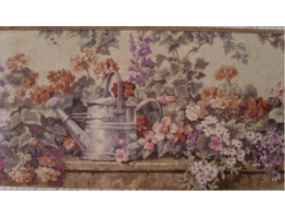 7 in x 15 ft Prepasted Wallpaper Borders - Brown Floral And Watering Pot Wall Paper Border