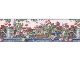 Blue Hat and Gloves Garden Wallpaper Border