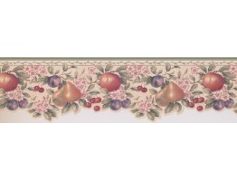 Prepasted Wallpaper Borders - Peach Apple Berries Wall Paper Border
