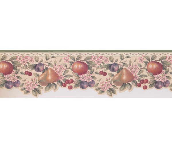 Clearance: Peach Apple Berries Wallpaper Border