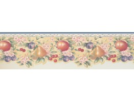 Prepasted Wallpaper Borders - Blue White Fruits Pink Floral Wall Paper Border