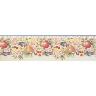 6 1/4 in x 15 ft Prepasted Wallpaper Borders - Blue White Fruits Pink Floral Wall Paper Border