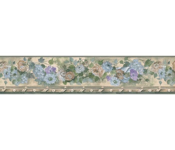 Floral Wallpaper Borders: Blue Daisy Flower Wallpaper Border