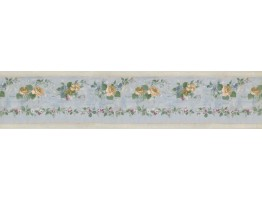Prepasted Wallpaper Borders - Running Yellow Roses Wall Paper Border