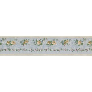 5 in x 15 ft Prepasted Wallpaper Borders - Running Yellow Roses Wall Paper Border