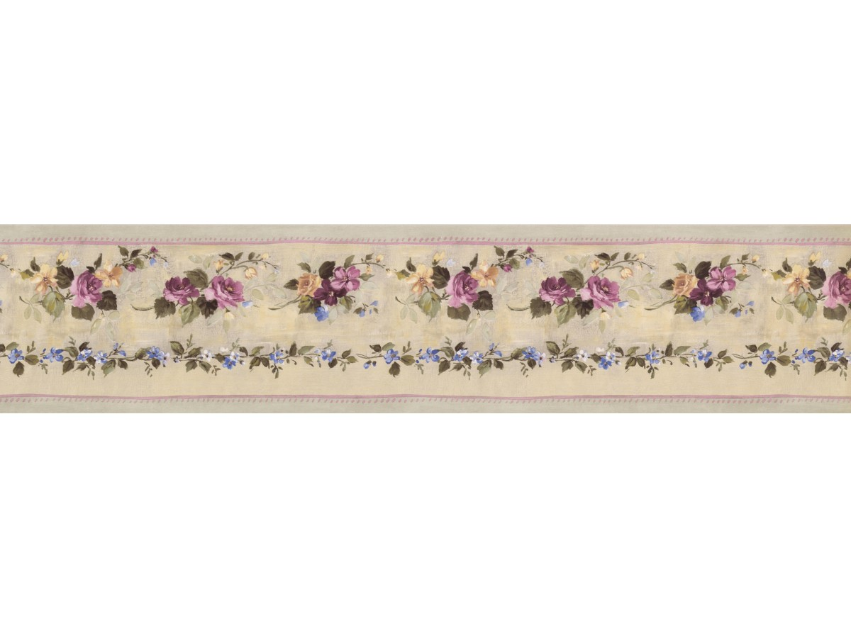 Pink Green Violet Floral Wallpaper Border