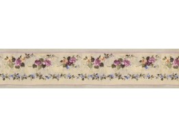 Prepasted Wallpaper Borders - Pink Green Violet Floral Wall Paper Border