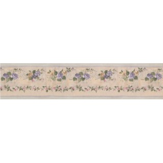 5 in x 15 ft Prepasted Wallpaper Borders - Running Blue Roses Wall Paper Border