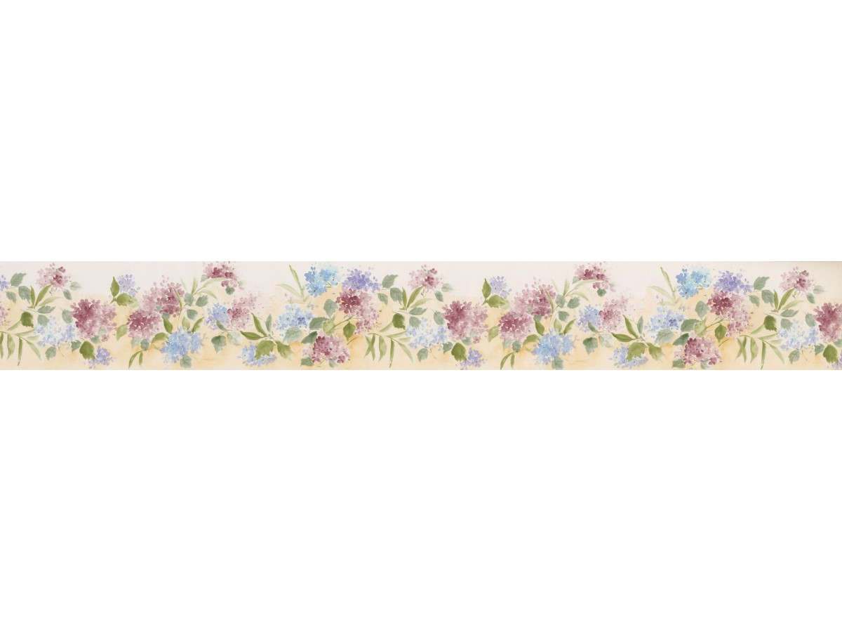 Prepasted Wallpaper Borders , White Background Tiny Blue Red Flowers Wall  Paper Border
