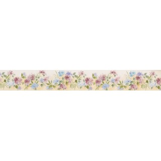 5 in x 15 ft Prepasted Wallpaper Borders - White Background Tiny Blue Red Flowers Wall Paper Border