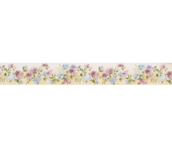 Prepasted Wallpaper Borders - White Background Tiny Blue Red Flowers Wall Paper Border