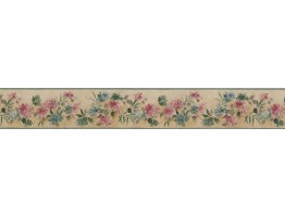 3 1/2 in x 15 ft Prepasted Wallpaper Borders - Pink Blue Tiny Flowers Wall Paper Border