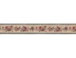 Prepasted Wallpaper Borders - Narrow Floral Rose Wall Paper Border