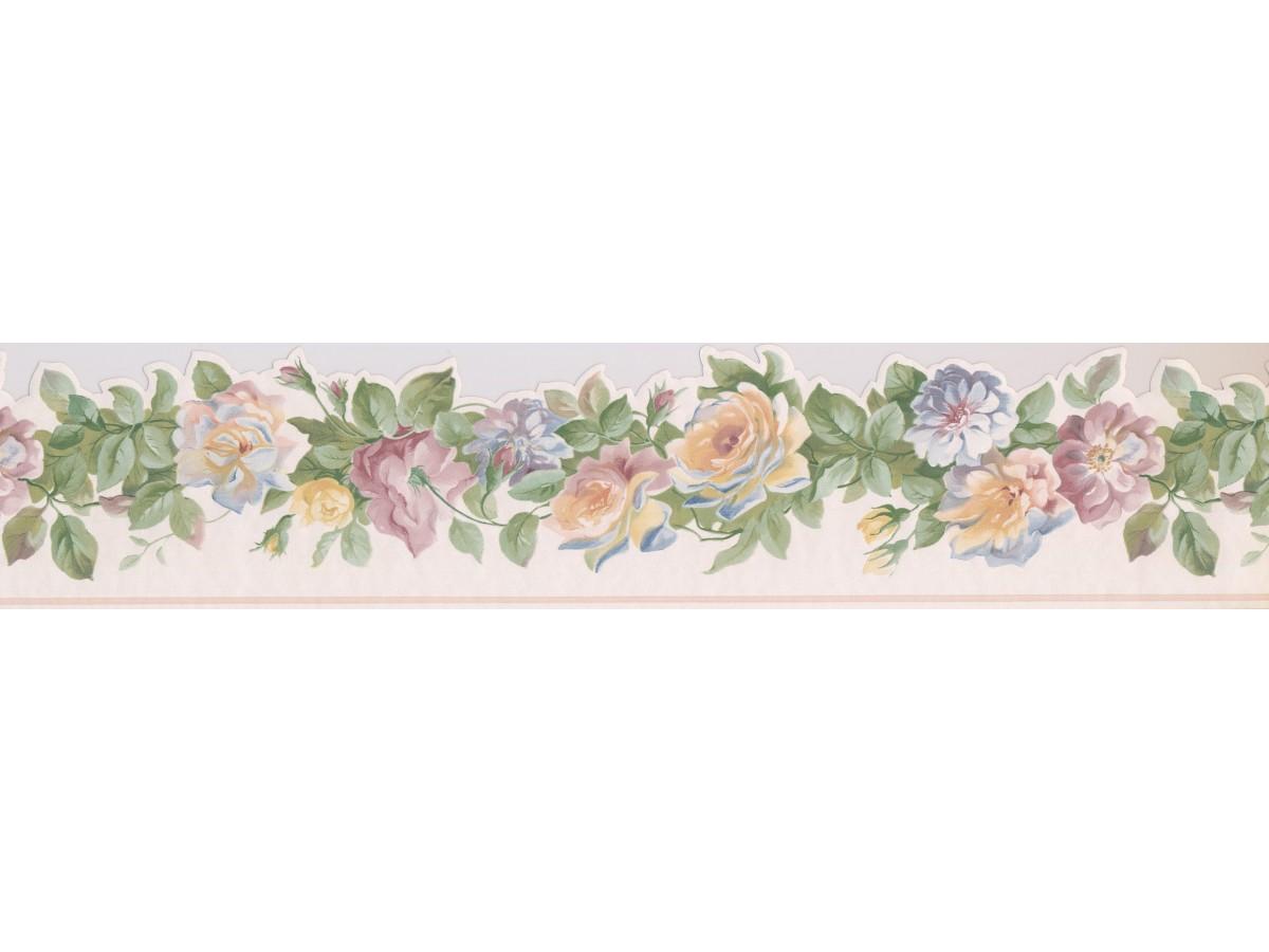 White Yellow Blue Roses Wallpaper Border