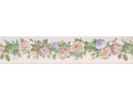 White Yellow Blue Roses Wallpaper Border