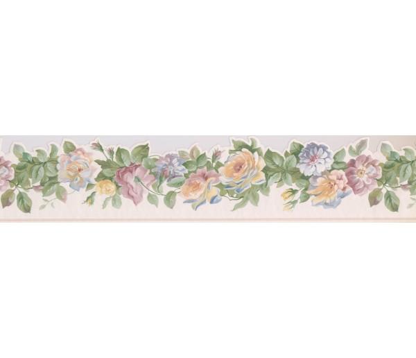 Floral Wallpaper Borders: White Yellow Blue Roses Wallpaper Border