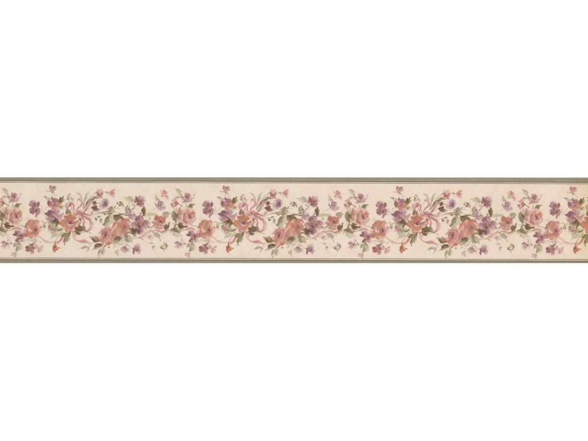 Olive Beige Floral Ribbons Wallpaper Border
