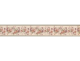 Olive Beige Floral Ribbons Wallpaper Border