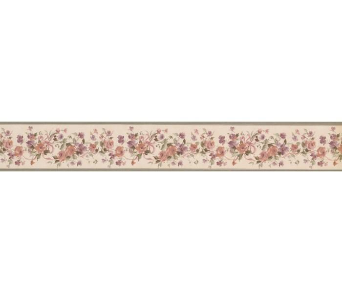 Floral Wallpaper Borders: Olive Beige Floral Ribbons Wallpaper Border