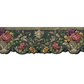 Floral Wallpaper Borders: Running Pot Flowers Wallpaper Border