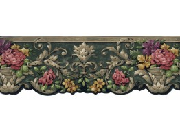 4 in x 15 ft Prepasted Wallpaper Borders - Running Pot Flowers Wall Paper Border