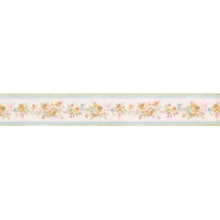 5 in x 15 ft Prepasted Wallpaper Borders - Yellow Floral Roses Wall Paper Border