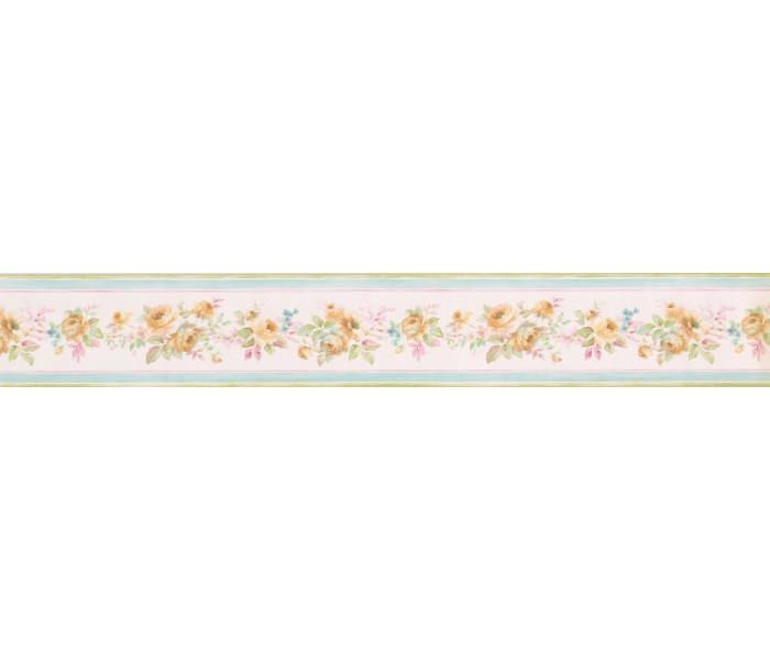Clearance: Yellow Floral Roses Wallpaper Border